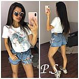 """Женский стильный костюм с декором """"Цветы"""": футболка и джинсовые шорты, фото 2"""