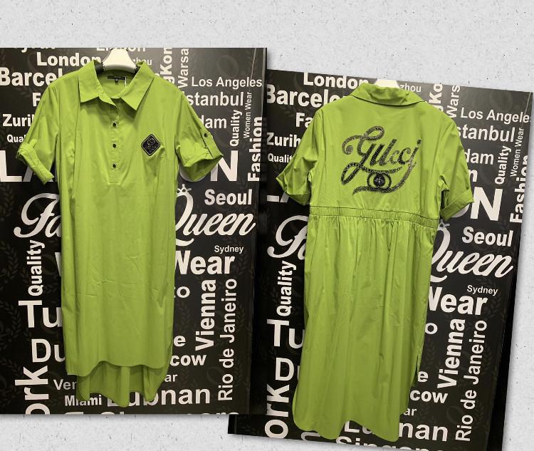 Платье-рубашка со стразами в стиле Gucci Батальная серия салатовое
