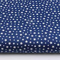 "Ткань бязь ""Густая насыпь из звёзд разных размеров"" белые на синем, коллекция Mini-mikro, №2221а"