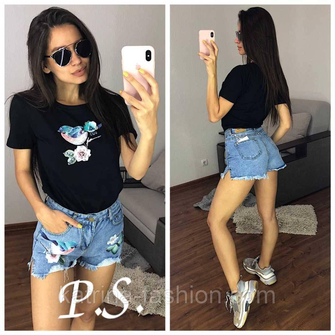 """Жіночий стильний костюм з декором """"Синичка"""": футболка і джинсові шорти (2 кольори)"""