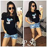 """Жіночий стильний костюм з декором """"Синичка"""": футболка і джинсові шорти (2 кольори), фото 2"""