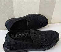 Мокасины мужские сетка черные Крок