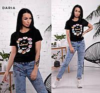"""Женская стильная футболка """"Пончики"""" (2 цвета)"""