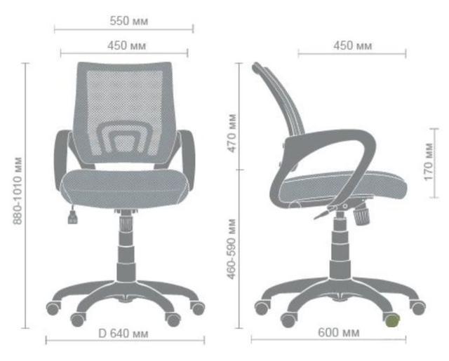 Кресло Веб сиденье Сетка черная-спинка Сетка салатовая (Фото 11) размеры