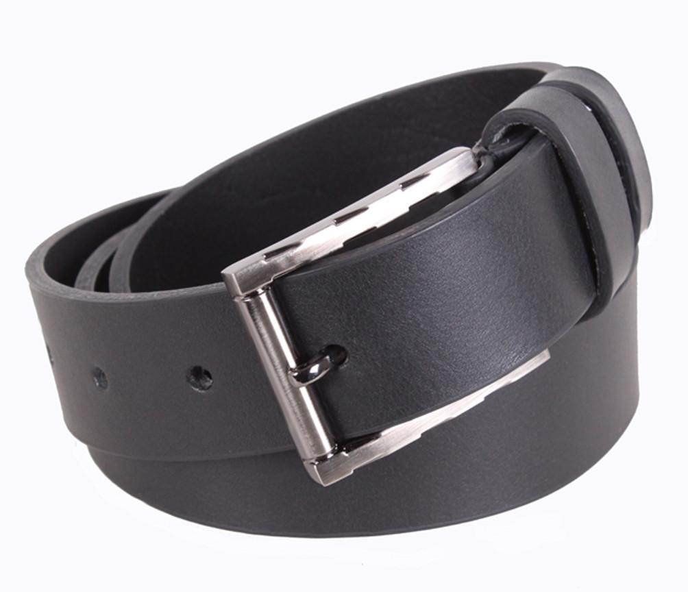 Мужской кожаный ремень Dovhani LD666-88 115-125 см Черный
