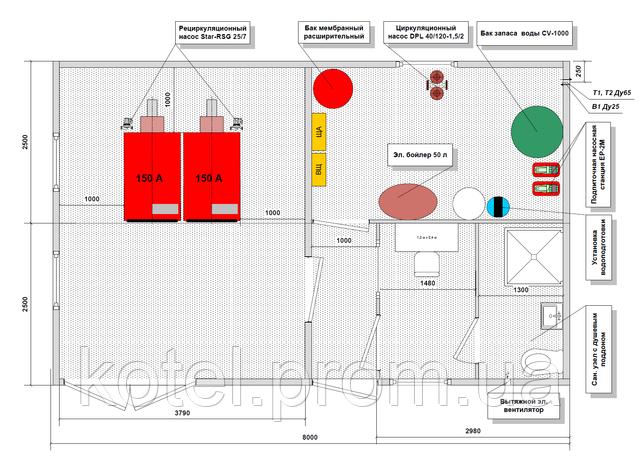 Схема расположения оборудования в котельной ТТК 300 квт