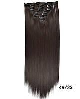 Накладные ровные волосы  7 прядей на клипсах,трессы длинна 55 см., фото 1