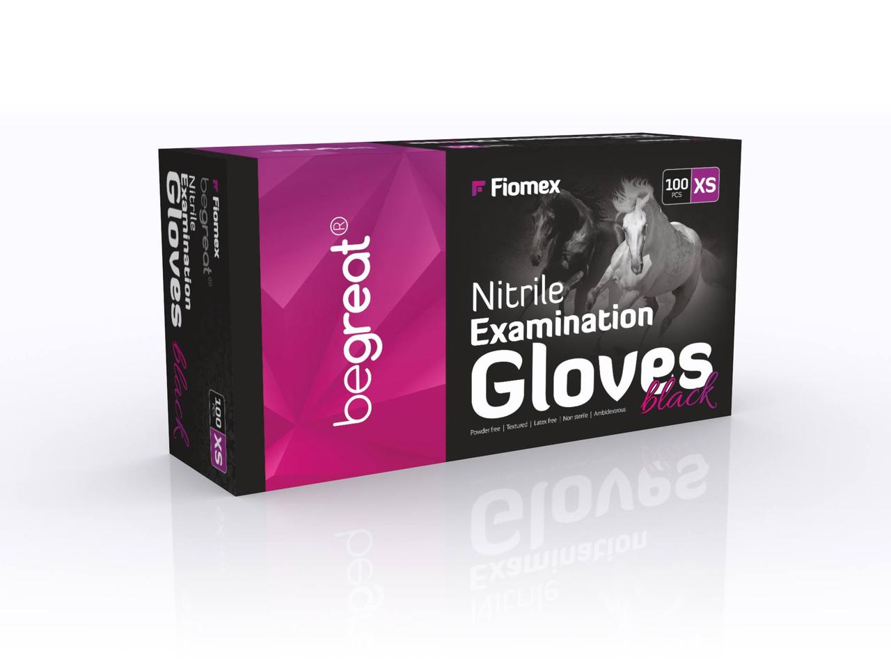 Рукавички нітрилові Fiomex Black, premium - 100 шт/уп, XS