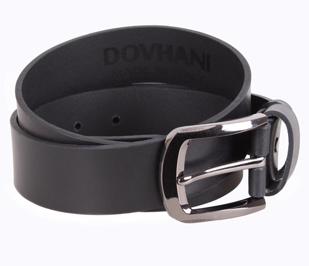 Мужской кожаный ремень Dovhani LD666-228 115-125 см Черный