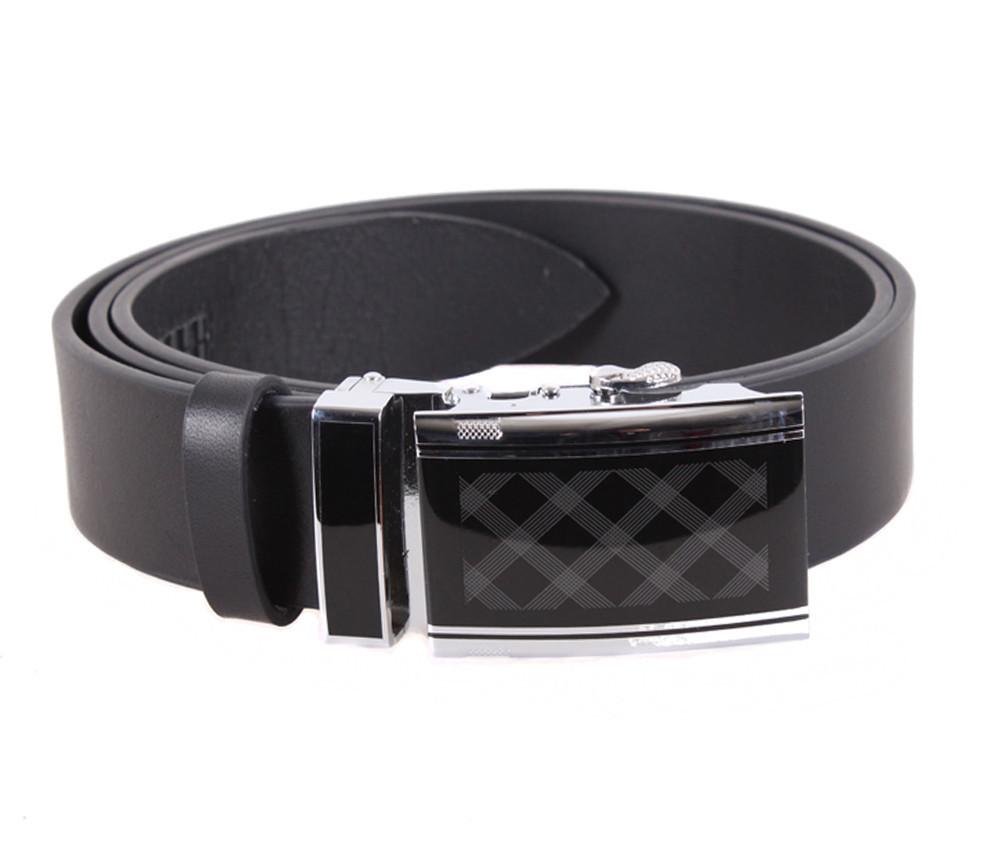 Мужской кожаный ремень Dovhani ALD666-301 115-125 см Черный