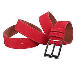 Мужской замшевый ремень Dovhani Z63-244 115-125 см Красный, фото 3