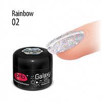 PNB UV/LED Galaxy Gel 02 Rainbow - глиттерный гель, голограмма, 5 мл