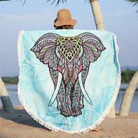 Круглое пляжное махровое полотенце 150 см Индийский Слон