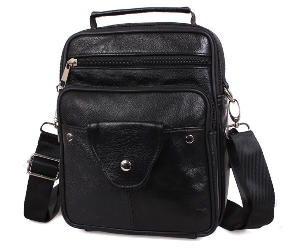 Мужская кожаная сумка Dovhani Back402011 Черная, фото 1