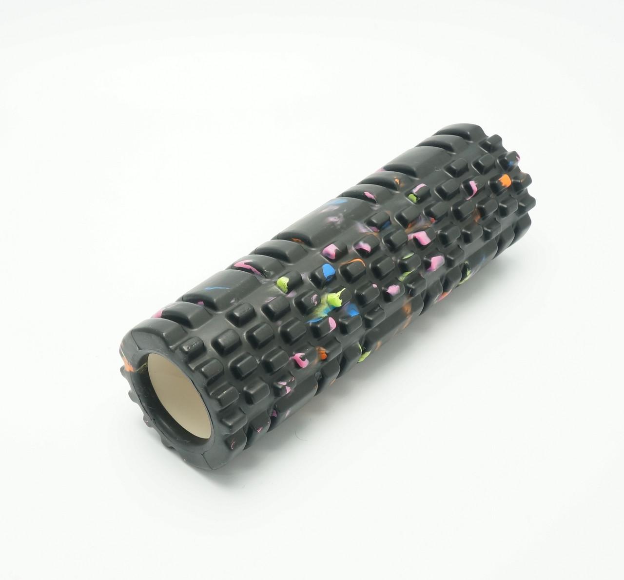 Массажный валик (ролик) для йоги (29х8 см.) - (черный/цветной)