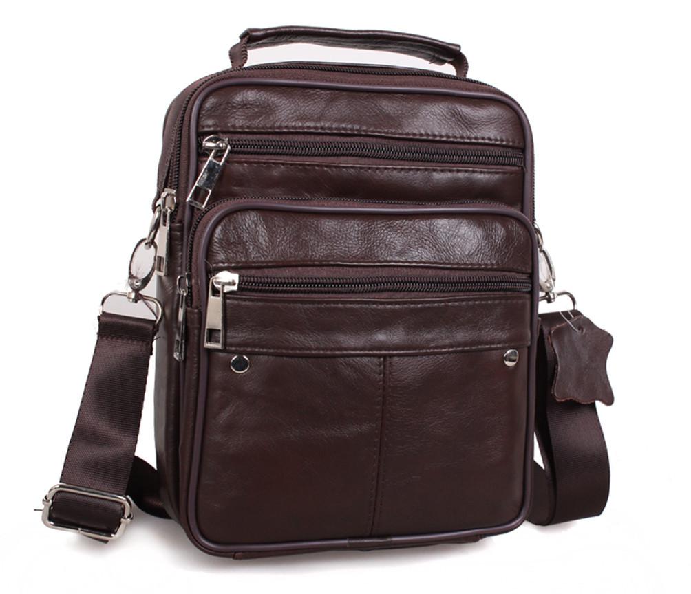 Мужская кожаная сумка Dovhani Brown402023 Коричневая