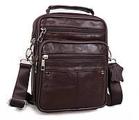 Мужская кожаная сумка Dovhani Brown402023 Коричневая, фото 1