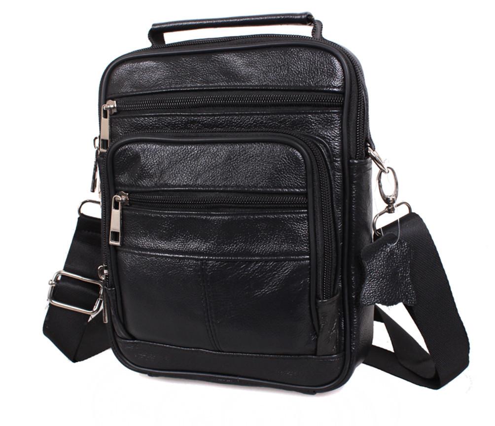 Мужская кожаная сумка Dovhani Black402034 Черная, фото 1