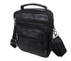 Мужская кожаная сумка Dovhani Black402034 Черная, фото 3
