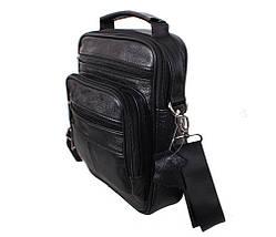 Мужская кожаная сумка Dovhani Black402034 Черная, фото 2