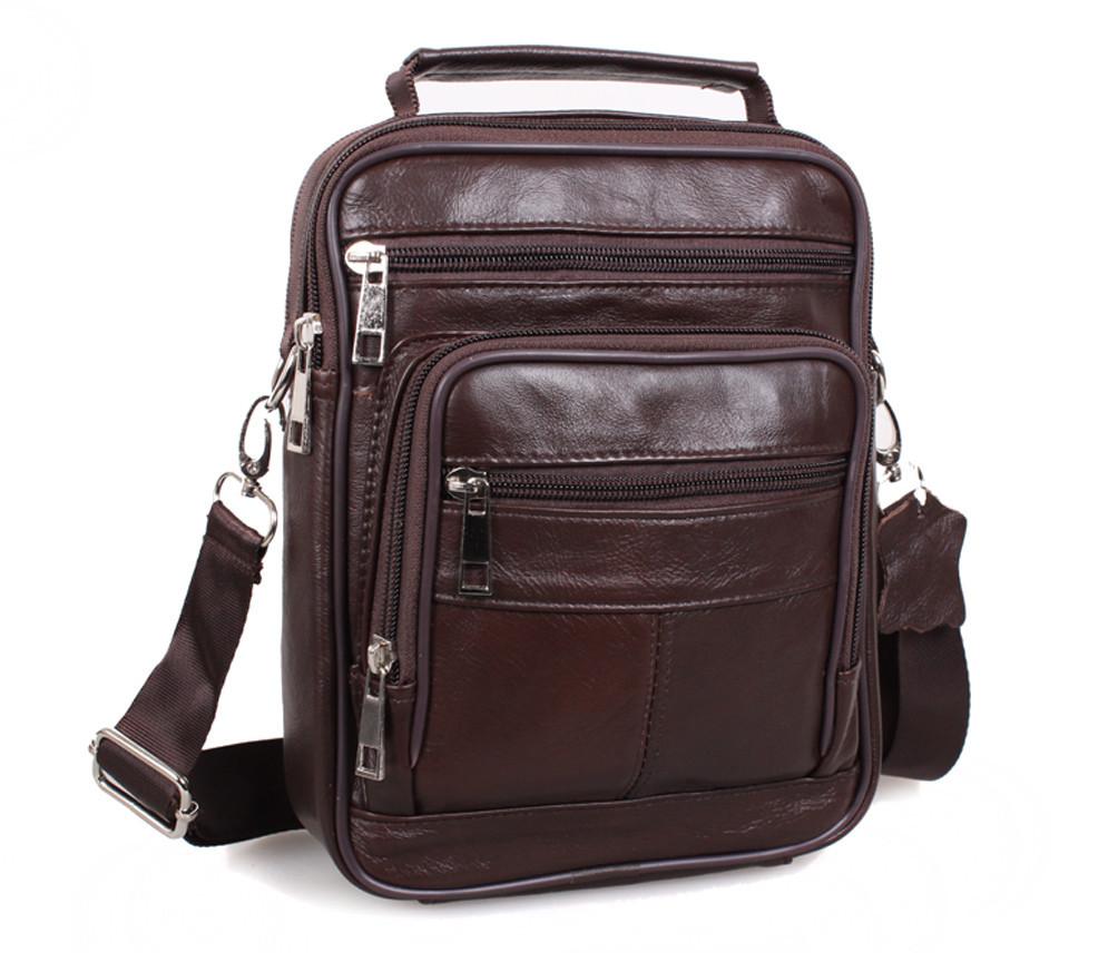 Мужская кожаная сумка Dovhani Black402035 Коричневая