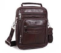Мужская кожаная сумка Dovhani Black402035 Коричневая, фото 1