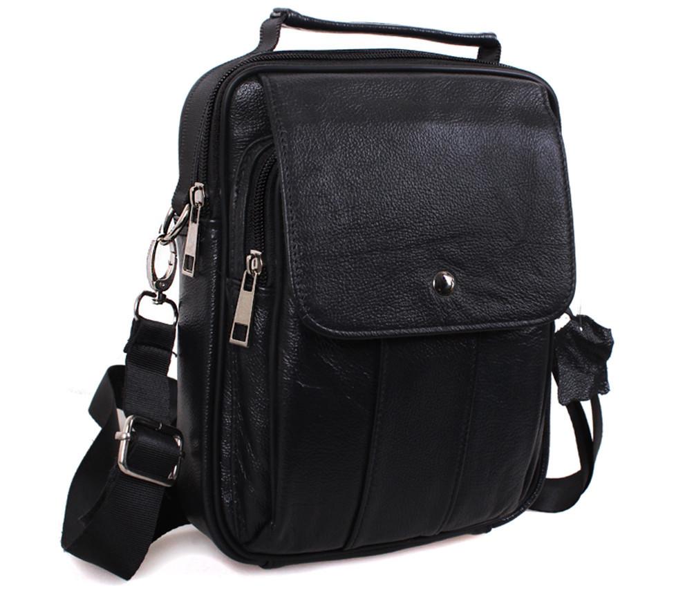 Мужская кожаная сумка Dovhani Black402045 Черная