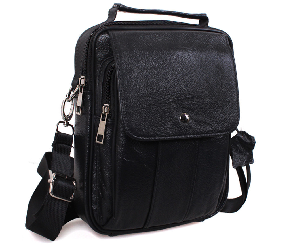 Мужская кожаная сумка Dovhani Black402045 Черная, фото 1