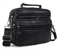 Мужская кожаная сумка Dovhani Black402057 Черная, фото 1