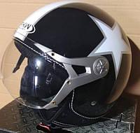Мотошлем Hel-Met 225 черный с белым (со звездой)