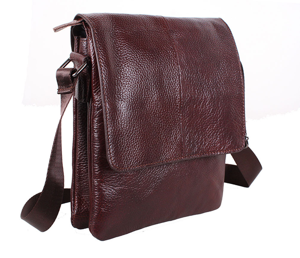 Мужская кожаная сумка Dovhani MESS8138-23 Коричневая 27 х 21.5 х 6см