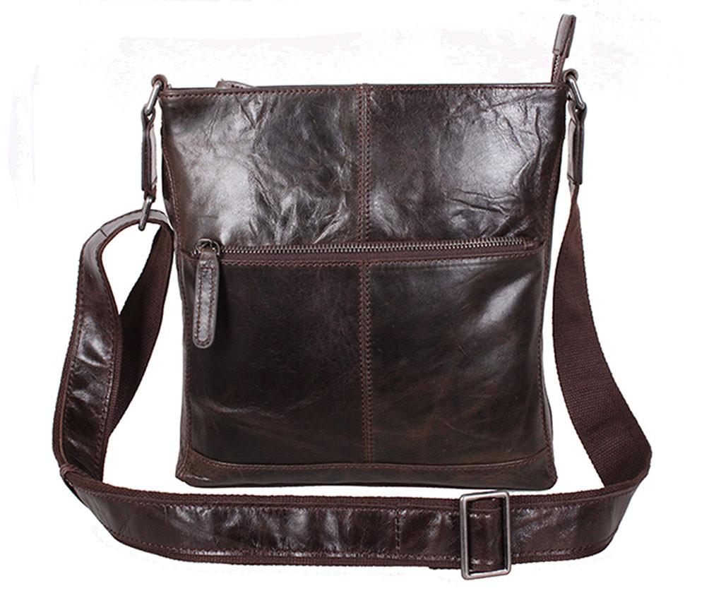 Мужская кожаная сумка Dovhani LA9017-36 Коричневая 26 х 26 х 7см