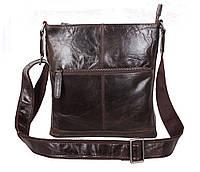 Мужская кожаная сумка Dovhani LA9017-36 Коричневая 26 х 26 х 7см, фото 1