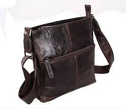Мужская кожаная сумка Dovhani LA9017-36 Коричневая 26 х 26 х 7см, фото 3