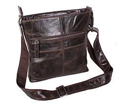 Мужская кожаная сумка Dovhani LA9017-36 Коричневая 26 х 26 х 7см, фото 2