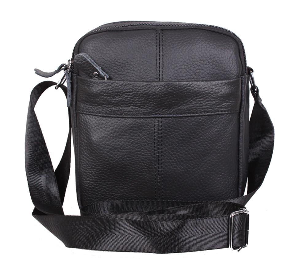 Мужская кожаная сумка Dovhani Dov-1025BL1 Черная 20 х 17 х 7-9см