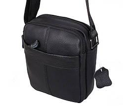 Мужская кожаная сумка Dovhani Dov-1025BL1 Черная 20 х 17 х 7-9см, фото 3