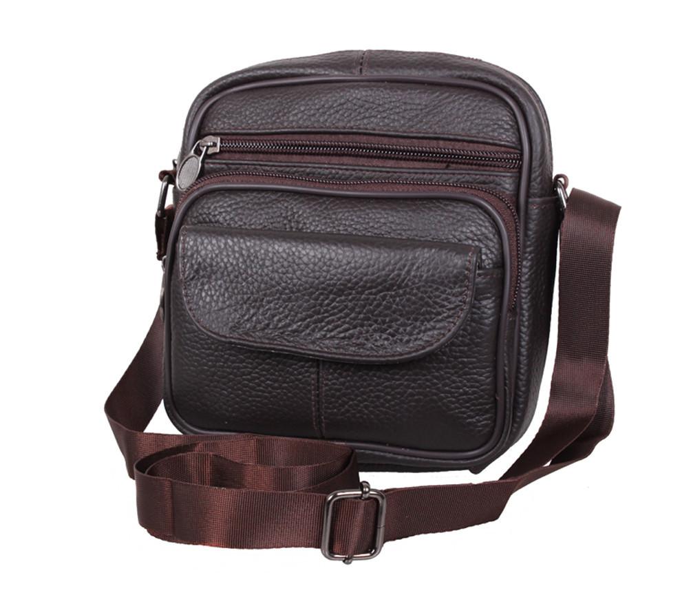 Мужская кожаная сумка через плечо барсетка Dovhani Dov-1101415 Коричневая 18 х 16 х 6см