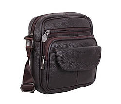 Мужская кожаная сумка через плечо барсетка Dovhani Dov-1101415 Коричневая 18 х 16 х 6см, фото 2