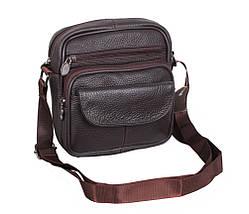 Мужская кожаная сумка через плечо барсетка Dovhani Dov-1101415 Коричневая 18 х 16 х 6см, фото 3