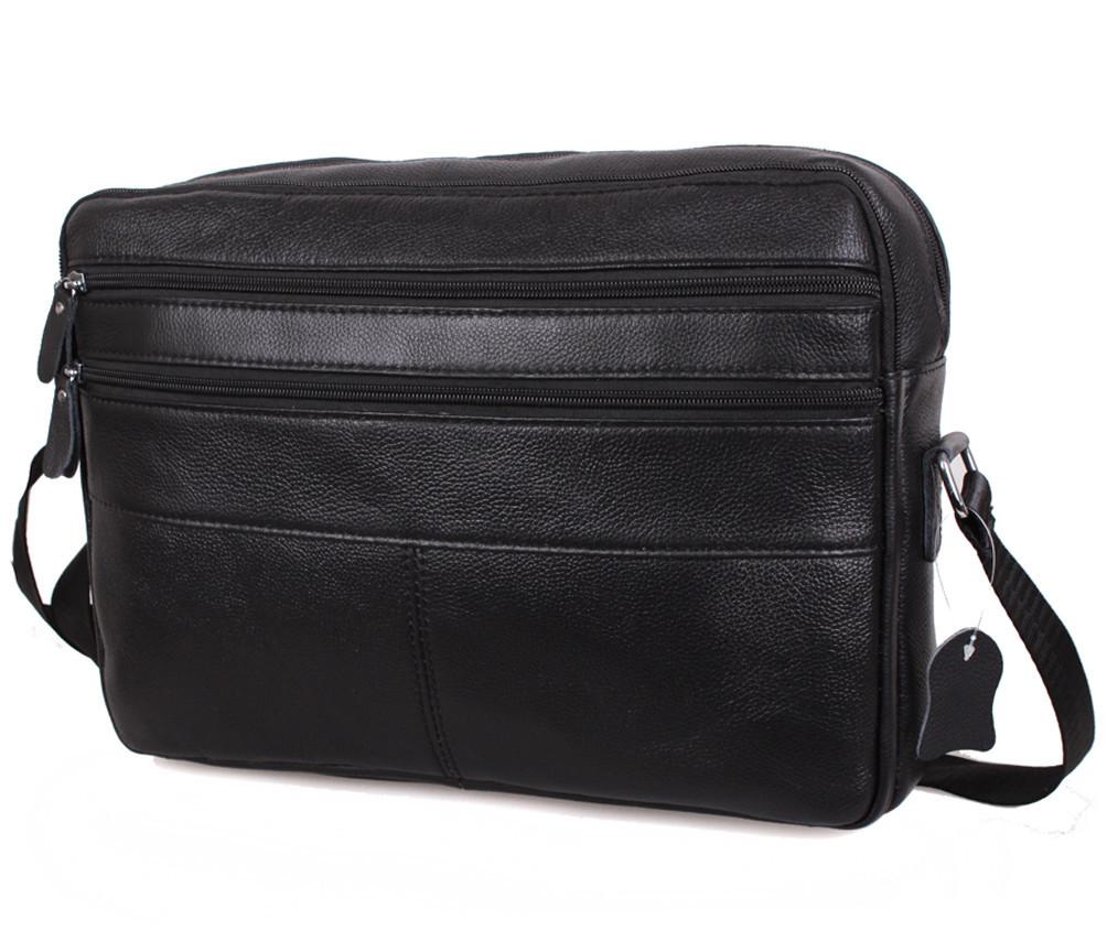 Мужская кожаная сумка A4 Dovhani Bon3923-115  Черная Ш36хВ25хГ10см