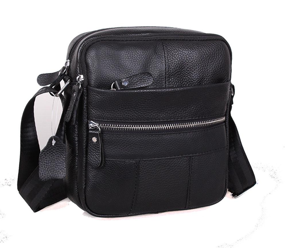 Мужская кожаная сумка Dovhani Bon-102005 Черная 18х21х7,5-9см