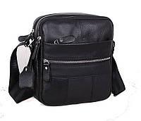 Мужская кожаная сумка Dovhani Bon-102005 Черная 18х21х7,5-9см, фото 1