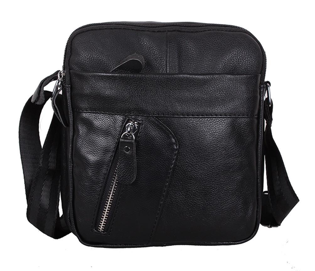 Мужская кожаная сумка Dovhani Bon-1028147 Черная Ш18,5 х В20 х Г 7,5-9см