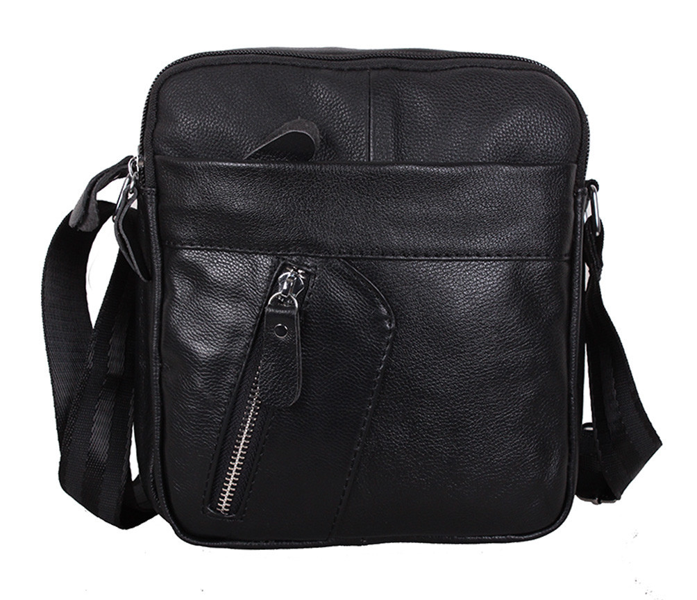 Мужская кожаная сумка Dovhani Bon-1028147 Черная Ш18,5 х В20 х Г 7,5-9см, фото 1