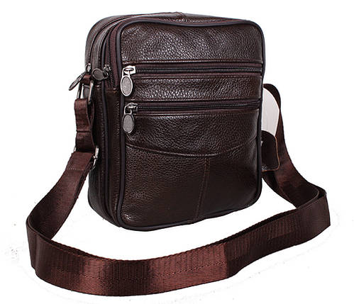 Мужская кожаная сумка Dovhani Bon-2011-127 Коричневая 11.5 х 20 х 7,5-9см, фото 2