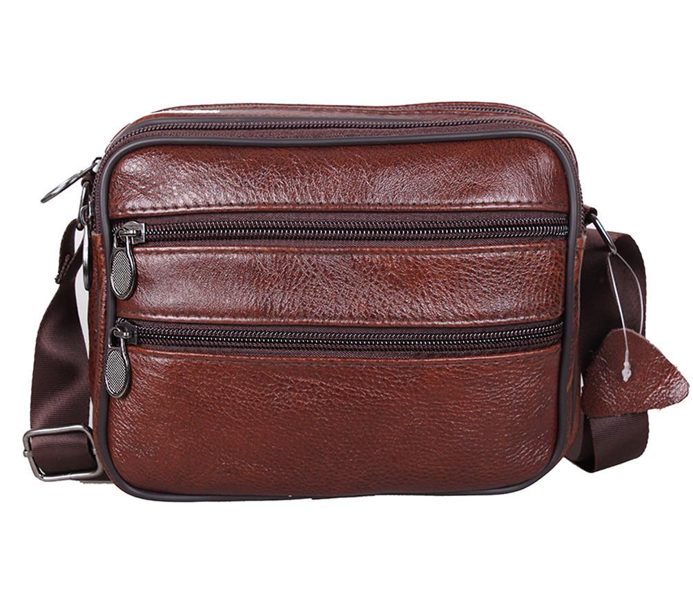 Мужская кожаная сумка Dovhani Bon-235589 Коричневая