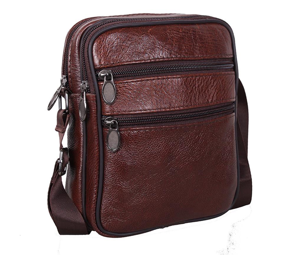 Мужская кожаная сумка Dovhani Bon-2366325 Коричневая 15x18x7.5-9см
