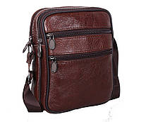Мужская кожаная сумка Dovhani Bon-2366325 Коричневая 15x18x7.5-9см, фото 1