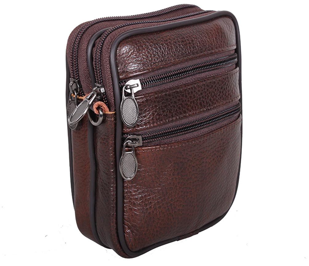 Мужская кожаная сумка Dovhani Bon-995023 Коричневая 11,5 х 15 х 3-5см